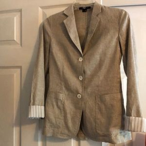 Theory linen blend blazer w/patterned cuffs